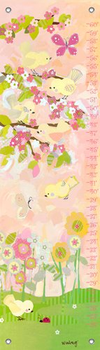 "Oopsy Daisy Cherry Blossom Birdies Growth Chart, Butter Cream, 12"" x 42"""