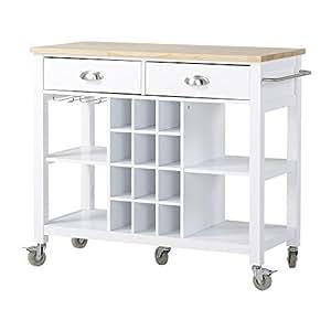 Homestar Wide Kitchen Island Cart 41 X 19 X 36 1 3 White