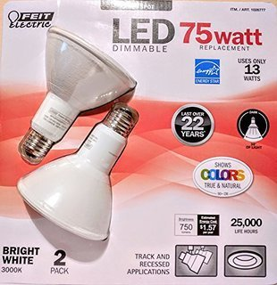 Feit Electric 75 Watt LED PAR30 SPOT ,LED DIMMABLE bright white 3000k uses only 13 WATTS -Track and Recessed - 2 Pack (1045430 (Feit Electric Led Par30 compare prices)