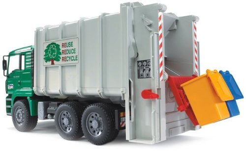 Game / Play Bruder Toys Man Garbage Truck Rear Loading Green. Figure, Collectible, Vehicle, Toy, Plastic Toy / Child / Kid
