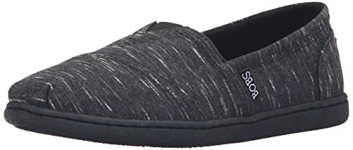 BOBS from Skechers Women's Bobs Bliss - Dashes & Dots Flat, Black Heather, 8 M US (Bobs Shoes Womens compare prices)