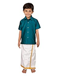 Thangamagan Baby Boy's Shirt/Dhoty Regular Fit (Dark Blue,Age : 18 to 24 Months)