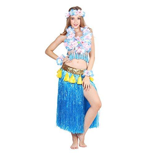 HOTER® Six-Piece Artificial Grass Skirt Set, High Quality Hawaiian Hula Dancer Grass Skirt With Flower Costume Set, Various Colors (Hula Dancer Costume)