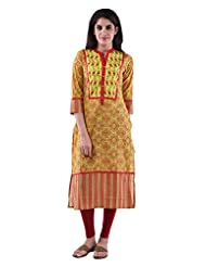 AARR Cotton Yellow 3/4th Sleeves Kurta For Women - B00W9W46BG