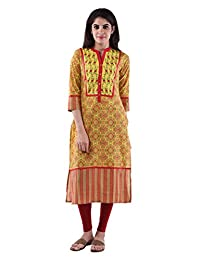 AARR Cotton Yellow 3/4th Sleeves Kurta For Women - B00W9W4MOC