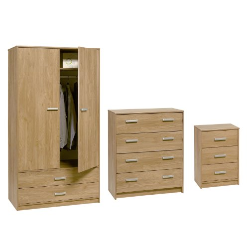 Bedroom Furniture Oak Set Felix Wardrobe 4 Drawer Chest of Drawers and Bedside Table
