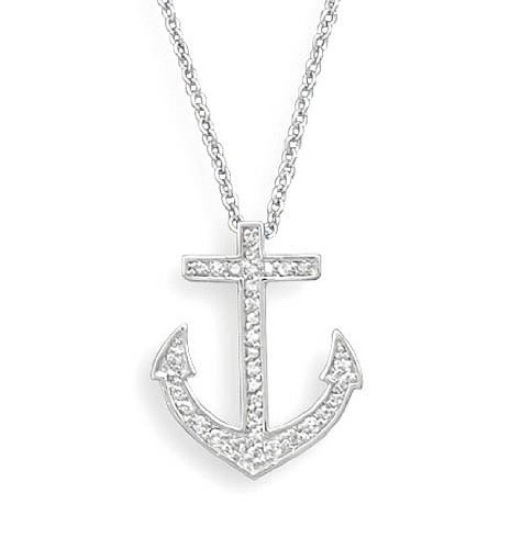 """Clevereve Designer Series Sterling Silver Rhodium Plated Pave Cz Anchor Pendant Necklace 18"""""""