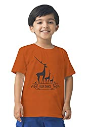Mintees 100% Combed Cotton Boy's Graphic Print Orange Colour Tshirt MBRNT-08-038_2-3Yrs