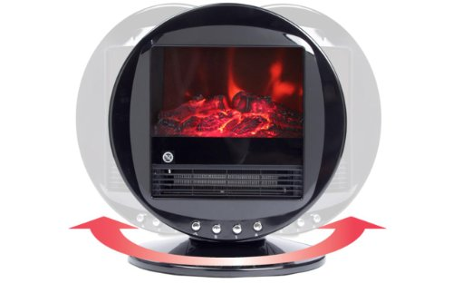 Silver Himalayan Circular Heater Electric Fireplace with 90 Degree Oscillation and Two Heat Settings