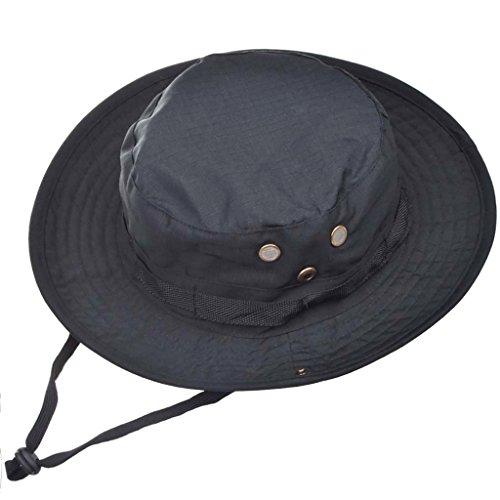 MerryBIY Brim Hat-Cappello da Pescatore per Traspirante, Bush, Escursione, Caccia Navigazione a Secchio con Foro per l'aria, con Cinghia (Nero)
