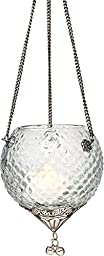 Luna Bazaar Cassia Design Hanging Glass Moroccan Lantern (3.25 x 3.75 Inches, plus Chains) - For Use with Tea Lights - For Parties, Weddings, and Homes