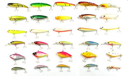 Bravefishermen Crank baits Hooks Minnow Baits Tackle lot of 30 Fishing Lures