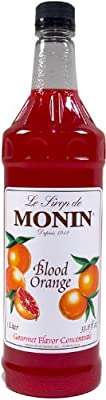 Monin Flavored Syrup, Blood Orange, 33.8-Ounce Plastic Bottles (Pack of 4) by Monin