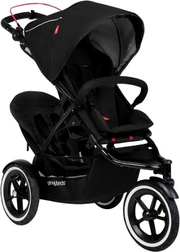 Phil & Teds Inline Black Compact Navigator Child Stroller W/ Double Kit front-734149