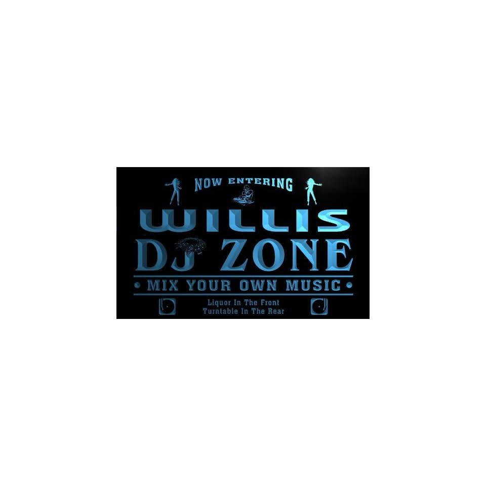 qh351 b Willis DJ Disc Jockey Zone Turntable Music Neon Light Sign