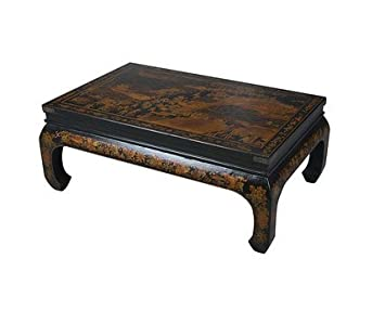 Hand-painted Wood Black Bonded Vintage Leather Oriental Coffee Table