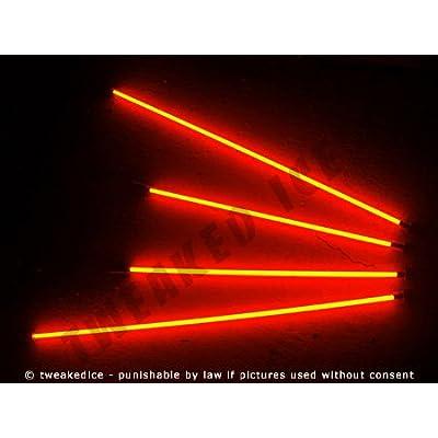 Orange Underglow Underbody 4 Pc Car Neon Kit Lights Brand New