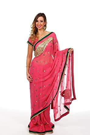 Amazon.com: Saris and Things Beauty Queen Sari Saree -Pink-M: Clothing
