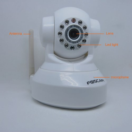 Brand New Genuine indoor internet wireless FOSCAM advanced version FI8918W IP Camera with night version up to 9 meters,PTZ 300°to 120°,Apple Mac and windows compatible,white