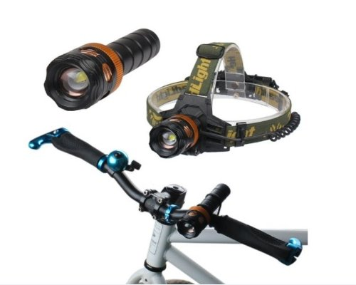 Dulex®Multi-Function 3 In 1 2000Lumen Cree Xml T6 Led Adjustable Focus Rechargeable 3 Modes Headlamp/Flashlight Torch/Bicycle Light(Free 2 Pcs Battery)