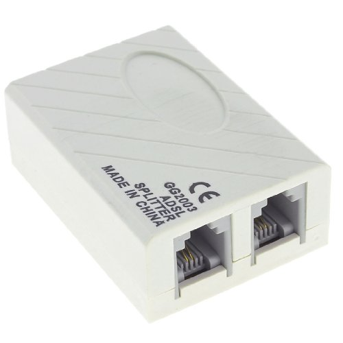 1 to 2 RJ11 6P2C Female Socket Phone Modem ADSL Splitter Filter