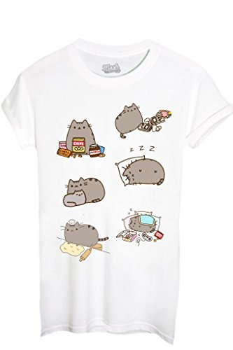 T-SHIRT PUSHEEN IL GATTO 2-FAMOSI by MUSH Dress Your Style - Donna-M-BIANCA