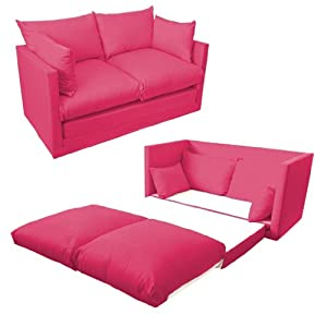 Comfortable Fuchsia Pink Childrens Kids 100% Cotton Drill 2 Seater Sofa Bed, Easy Pull-out Conversion. From Sofa to Bed in Seconds. by Ready Steady Bed