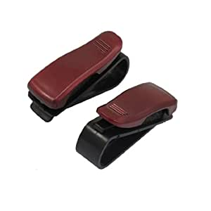 2 Pcs Red Eyeglasses Sunglasses Clip Holder for Car Auto