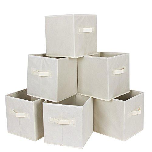 Songmics Set of 6 Foldable Storage Cubes Fabric Drawer Baskets Bins Set Closet Organizer Beige UROB26M