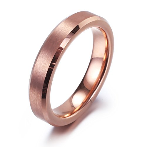 Nana Chic Jewelry Tungsten Carbide Ring 3mm for Women Matte Finish Rose Gold Plated Wedding Band(9) (Tungsten Carbide Ring Set compare prices)