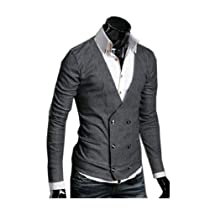 Mens V-neck Cardigan Slim Fit Sweater Coat Double Breasted Blazer Outerwear Jacket Grey,Medium