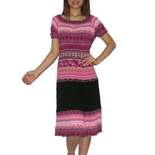 Womens Thai Boho Exotic Gathered / Smocked Empire Waist Ruffled Sleeve Summer Dress