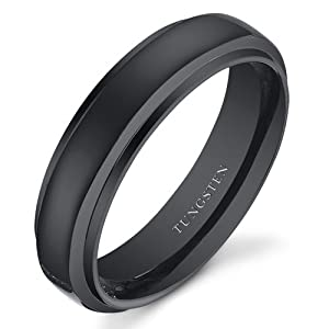 Revoni Black Color Rounded Top 6mm Mens and Womens Tungsten Wedding Band Ring Size J 1/2, Available in Sizes J to Z