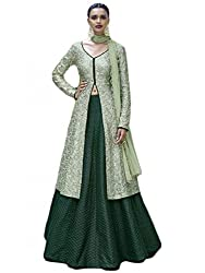 VH Fashion Top With Bhagalpuri FabricIn pista Green And Bottle Green Comibination With Hevy All Over Embroidery work Long Sharara Suit
