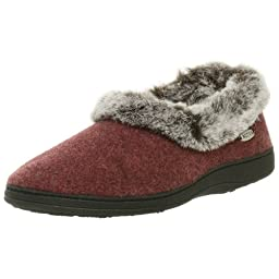 ACORN Women\'s Chinchilla Collar Slipper Crackleberry,Large 8-9 M US