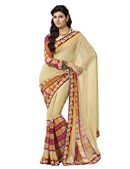 Prafful Gorgette Printed Saree With Unstitched Blouse - B00KNUQGA0