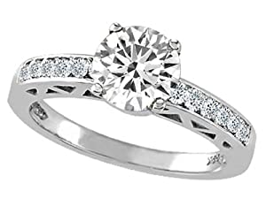 Tommaso Design(tm) Zoe R(tm) Genuine White Topaz and Diamond Solitaire Engagement Ring in 14 kt White Gold Size 8