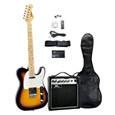 Pyle PGEKT46 Sunburst 42-Inch Electric 6-String Guitar and Amplifier Kit