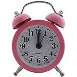 Analog Alarm Clock Metal (1b448) - Pink - Silent Quartz Retro Bedside Room Decor (Size Small: 5x2.5x7cm)