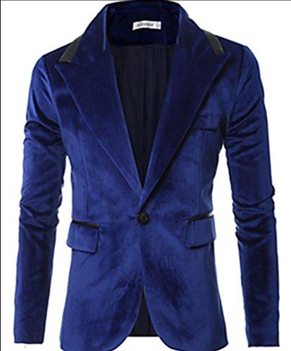 giacca-da-uomo-casual-semplice-primavera-autunnotinta-unita-colletto-cotone-blu-nero-manica-lunga-sp