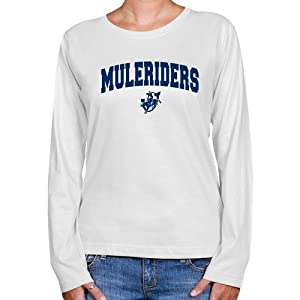 NCAA Southern Arkansas Muleriders Ladies White Logo Arch Long Sleeve Classic Fit T-shirt (X-Large)