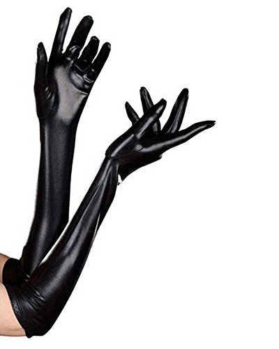 Colloyes Women's Sexy Elastic Wet Look Long Gloves (Black)