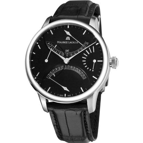 Maurice Lacroix Men's MP6518-SS001330 MasterPiece Black Leather Strap Watch