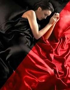 Parure de Lit Satin Housse de Couette Rouge Noire Reversible , Drap Housse + 4 Taies 2 Personnes 220 x 230 cm 6PCS