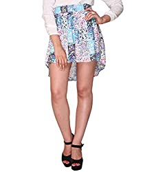 Bedazzle white Floral Print Women's Asymetric Skirt