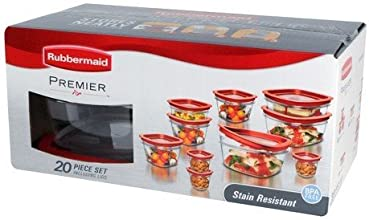 Rubbermaid 1857418 20-Piece Premier Food Storage Container Set, Red