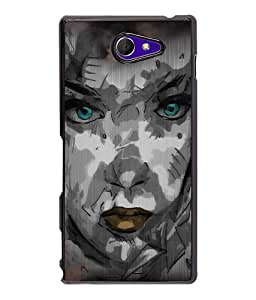 Fuson Night Haunted Girl Face Back Case Cover for SONY XPERIA M2 - D4116