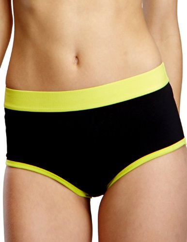 Yvette Women Mid-Rise Sports Boyshort Panties #6040, Black ...