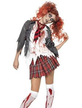 Costume da studentessa zombie - In 3 pezzi - Costume da donna per Halloween o altre feste in maschera - L