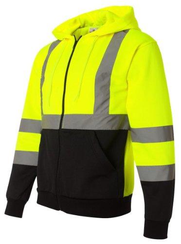 Ml Kishigo Men'S Hi-Vis Hooded Full-Zip Sweatshirt, 3Xl, Lime
